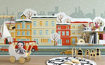Tapeta zimowa uliczka