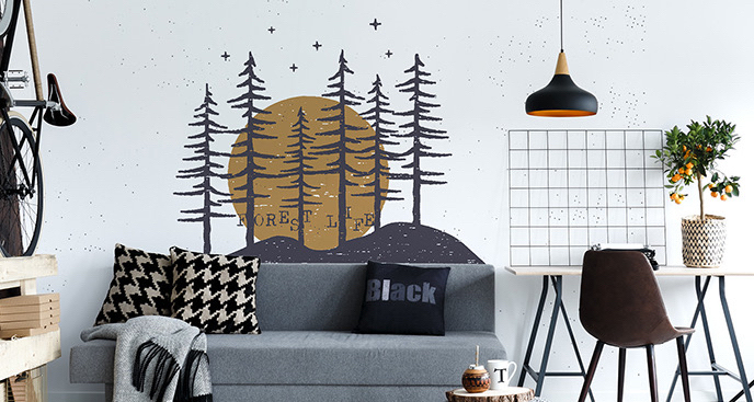 Typograficzna naklejka las