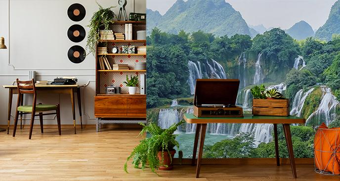 Zielona fototapeta do biura